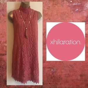 Dark Pink Short Lace Dress